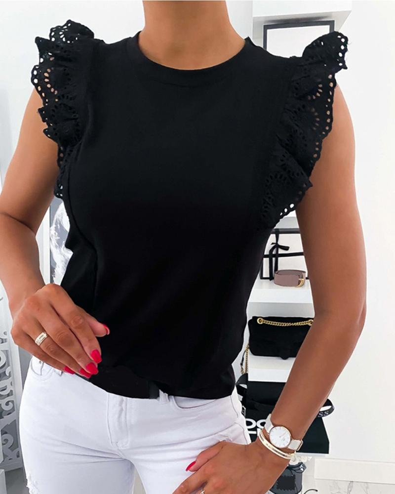 Eyelet Embroidery Ruffles Tank Top фото