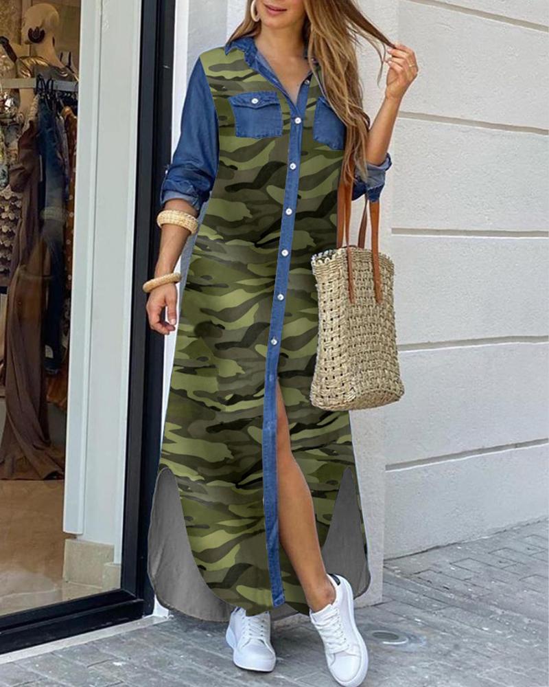 Camouflage Denim Buttoned Slit Shirt Dress фото