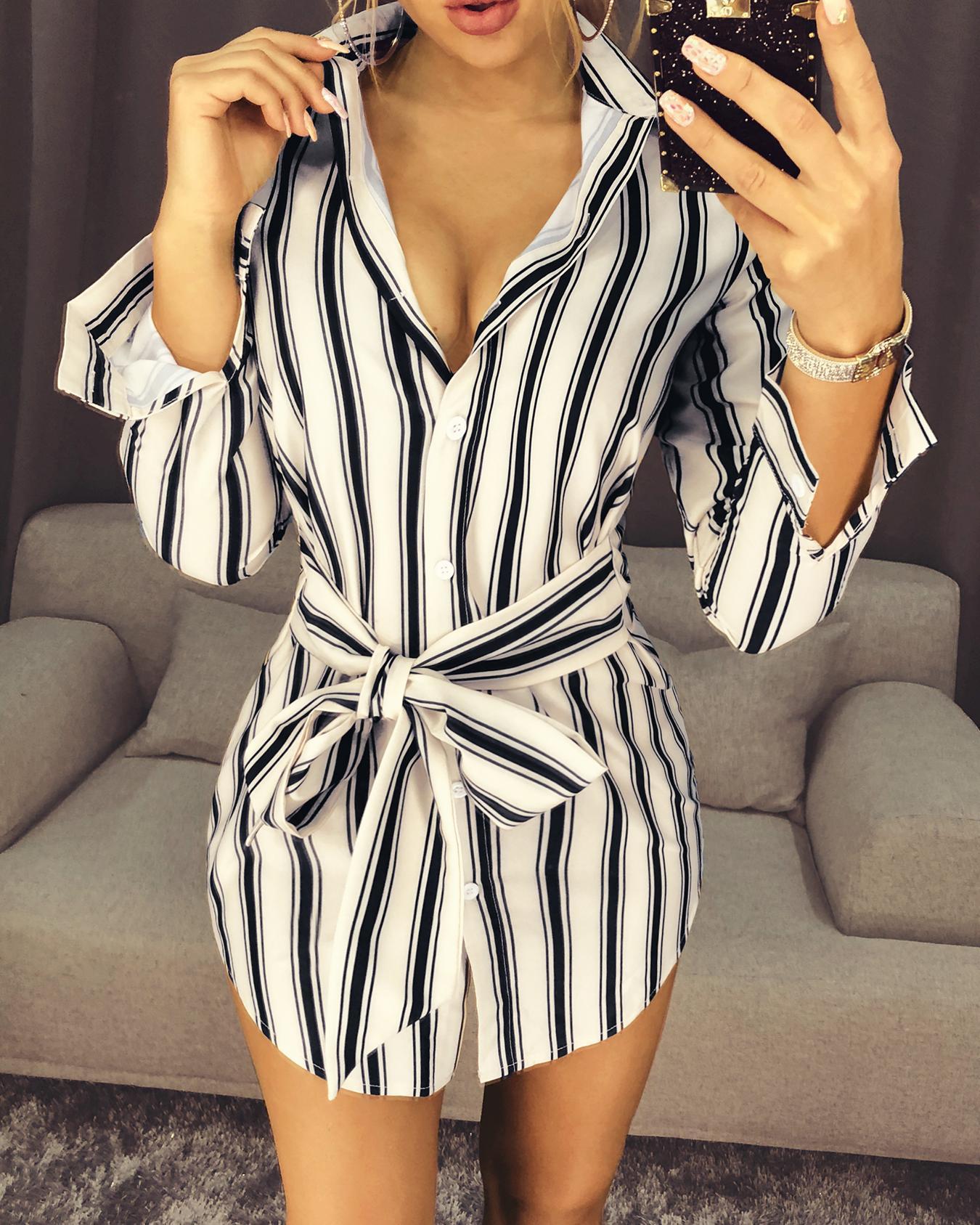 Fashion Self-belt Stripe Print Casual Shirt Dress, Beige