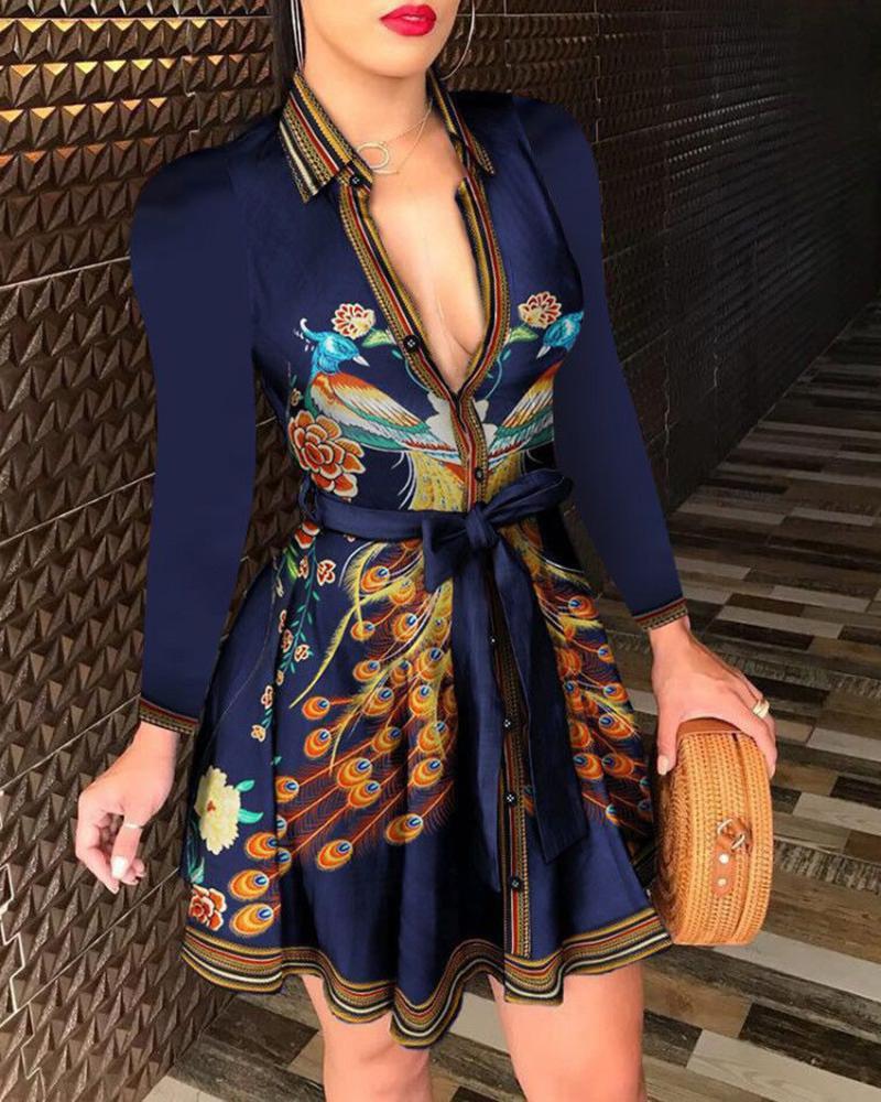chicme / Mixed Print Buttoned Long Sleeve Ruffles Dress