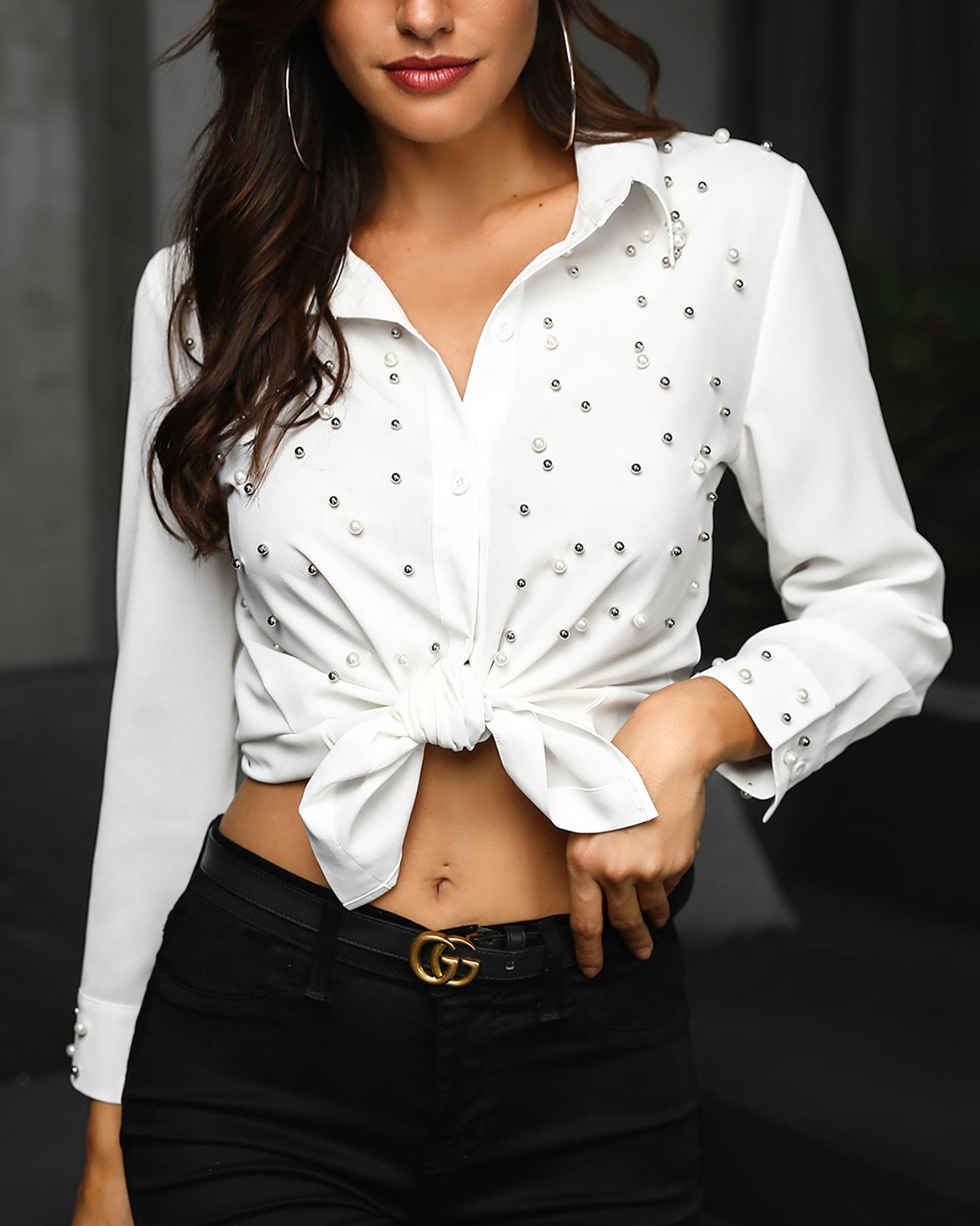 Beaded Embellished Buttoned Casual Shirt