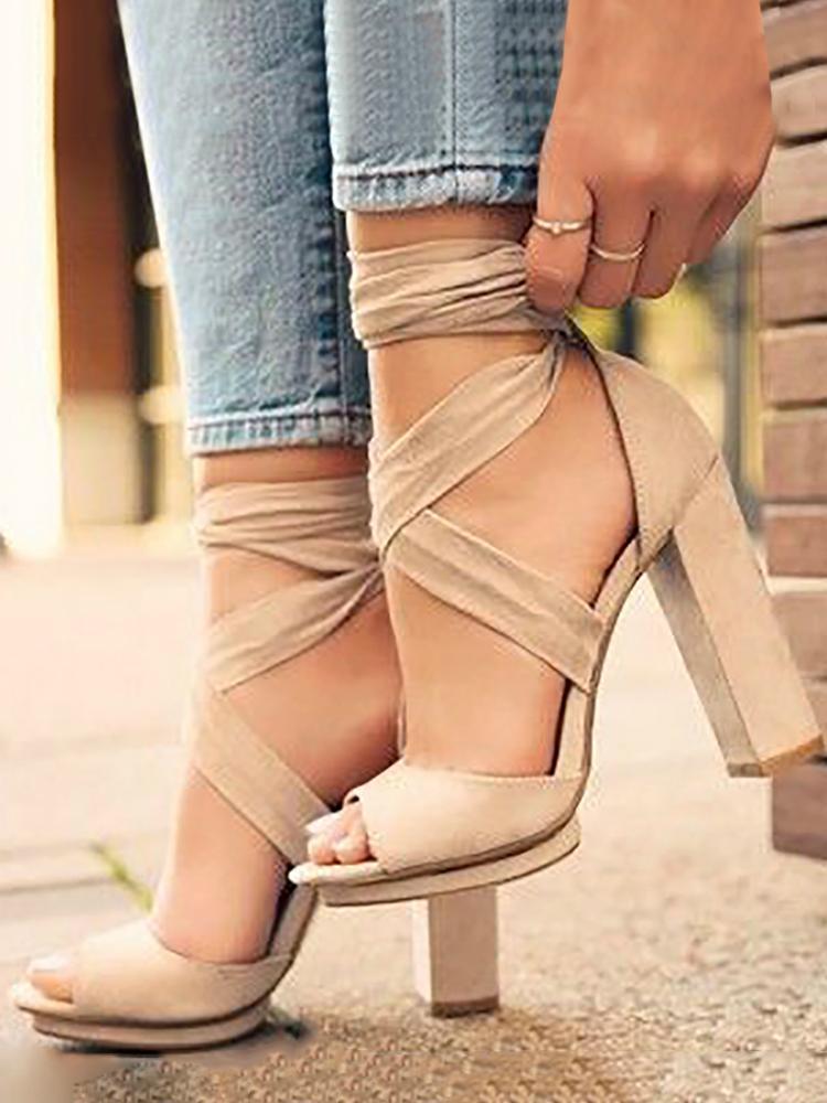 Peep Toe Crisscross Bandage High Heels Sandals, 3809