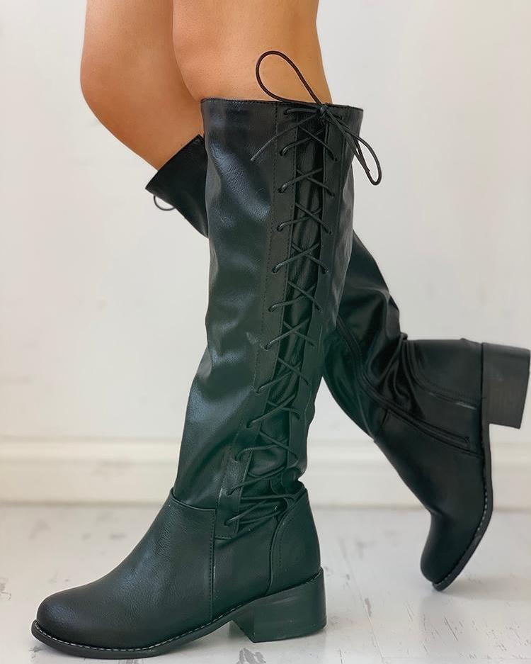 Lace-Up Chunky Heeled Boots фото