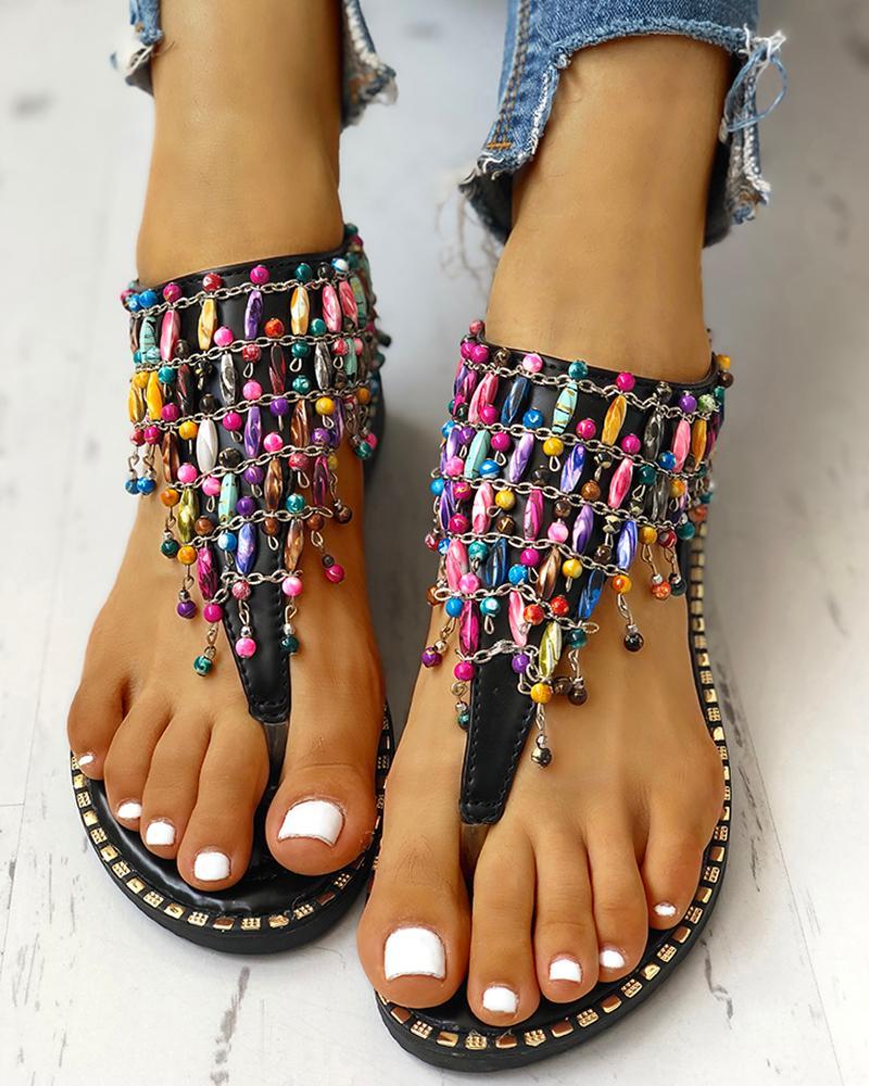 boutiquefeel / Sandalias planas del anillo del dedo del pie con cuentas Boho