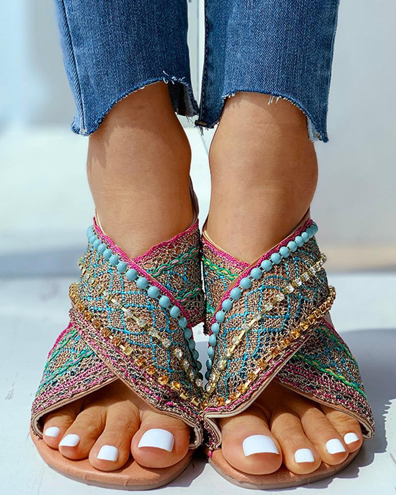 joyshoetique / Open Toe Beaded Woven Flat Sandals