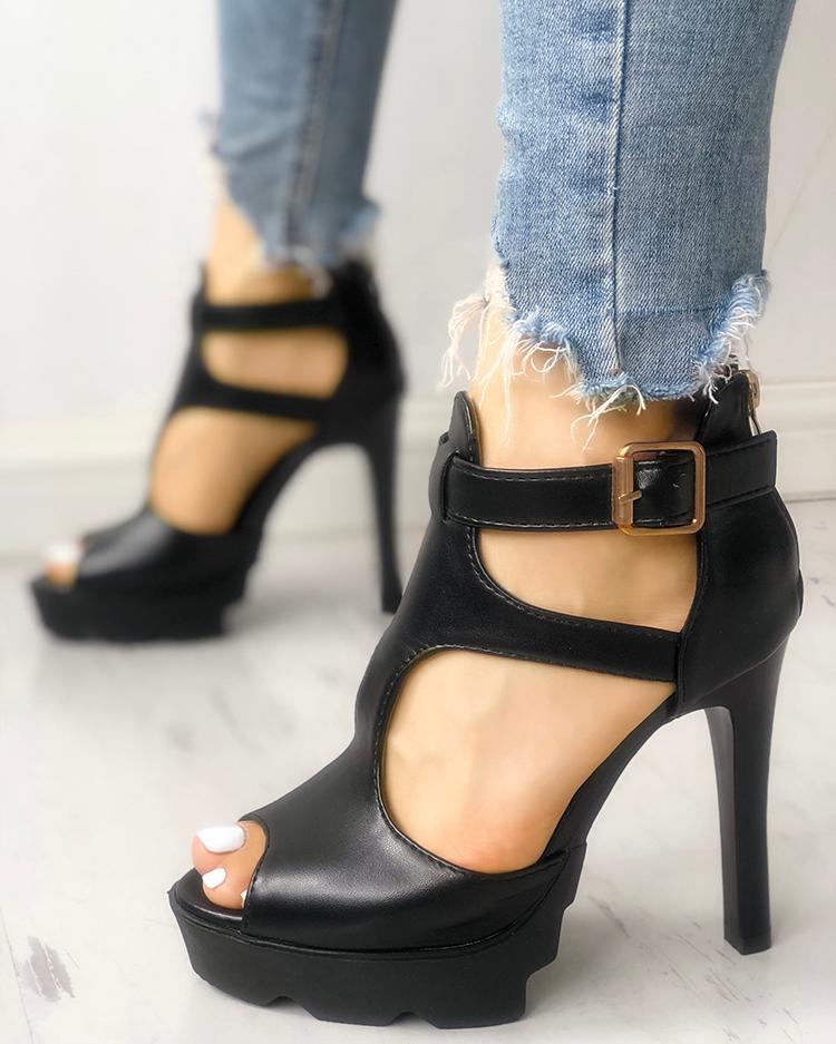 ivrose / Solid Peep Toe Cutout Buckled Thin Heels