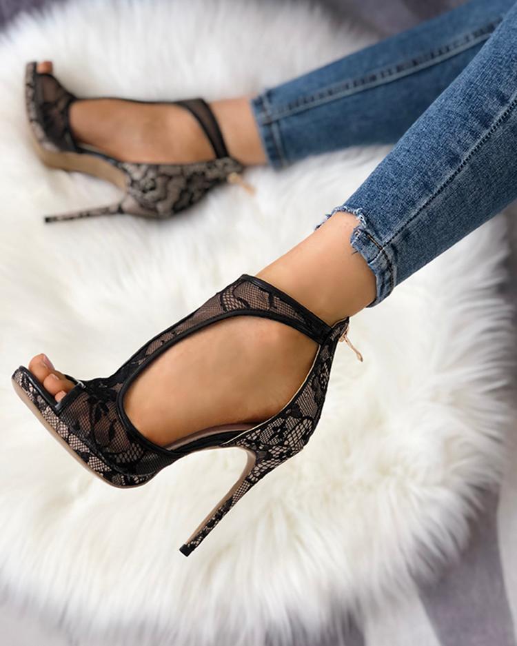 Open Toe Cutout Lace Thin Heel Sandals