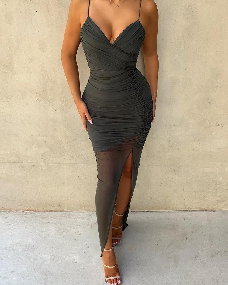 boutiquefeel / Spaghetti Strap malha Ruched Slit Dress