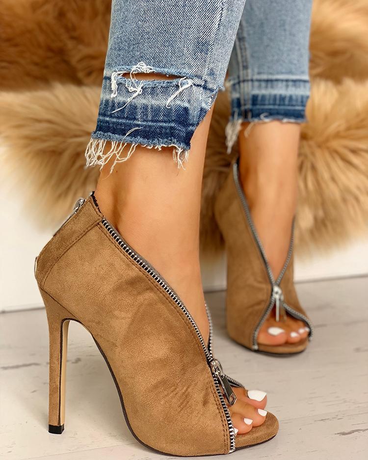 Suede Zipper Design Peep Toe Heeled Boots