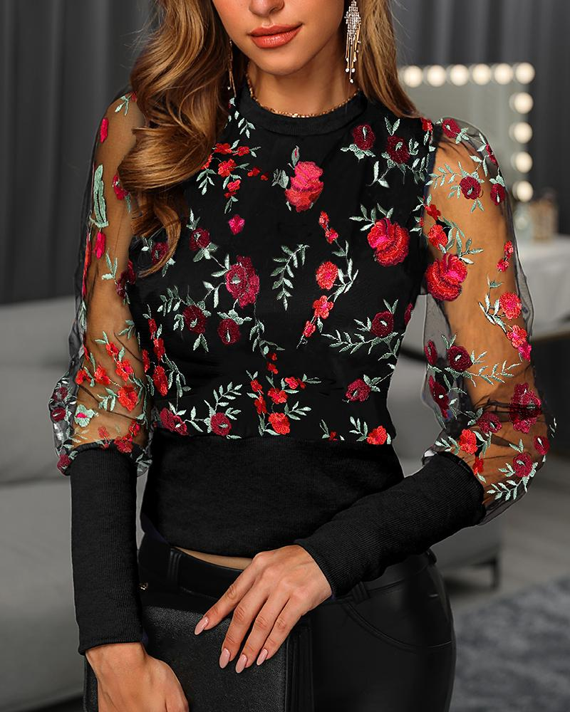 Floral Embroidery Puffed sleeve Mesh Blouse фото