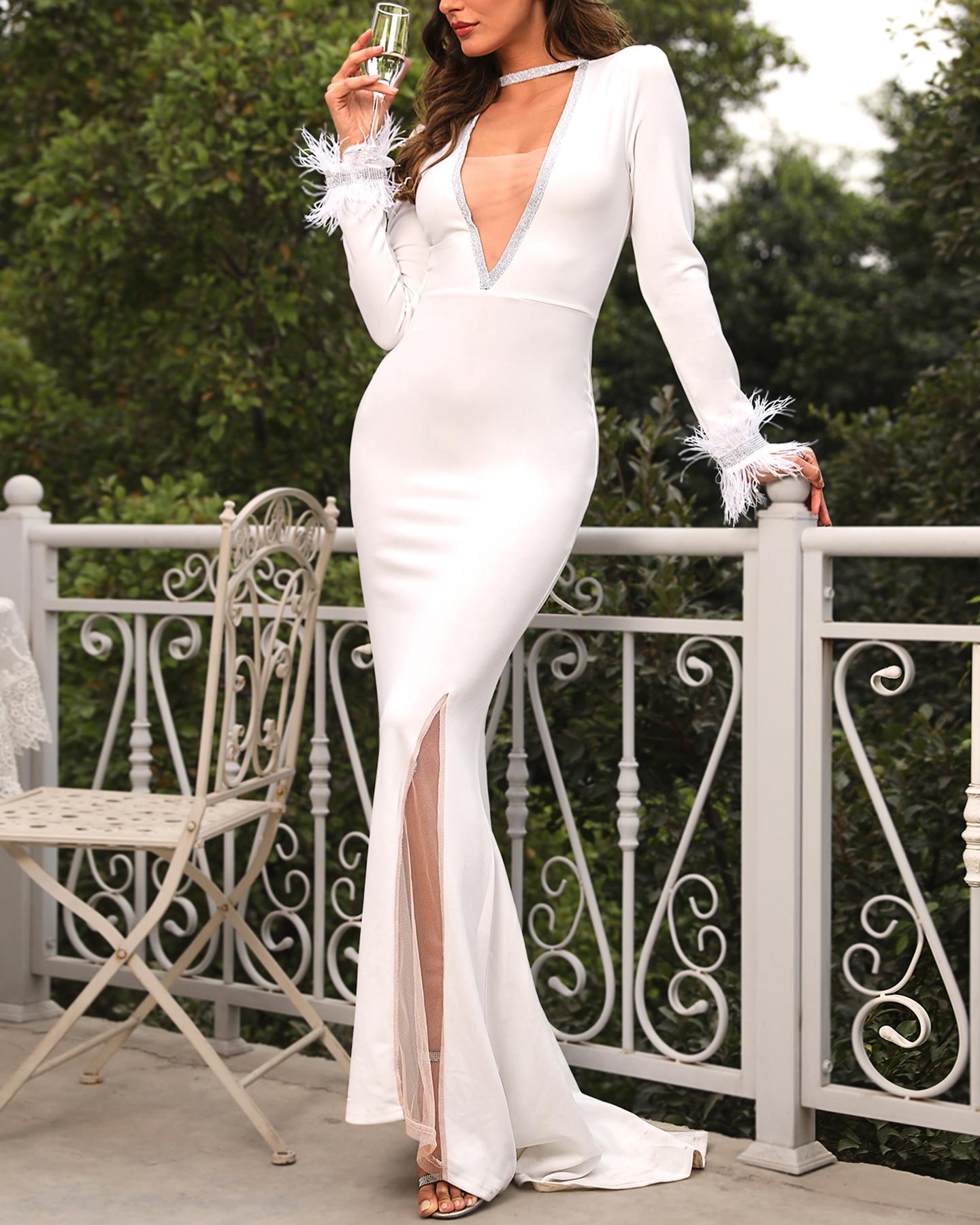 Sequin Feather Mesh Slit Evening Dress фото