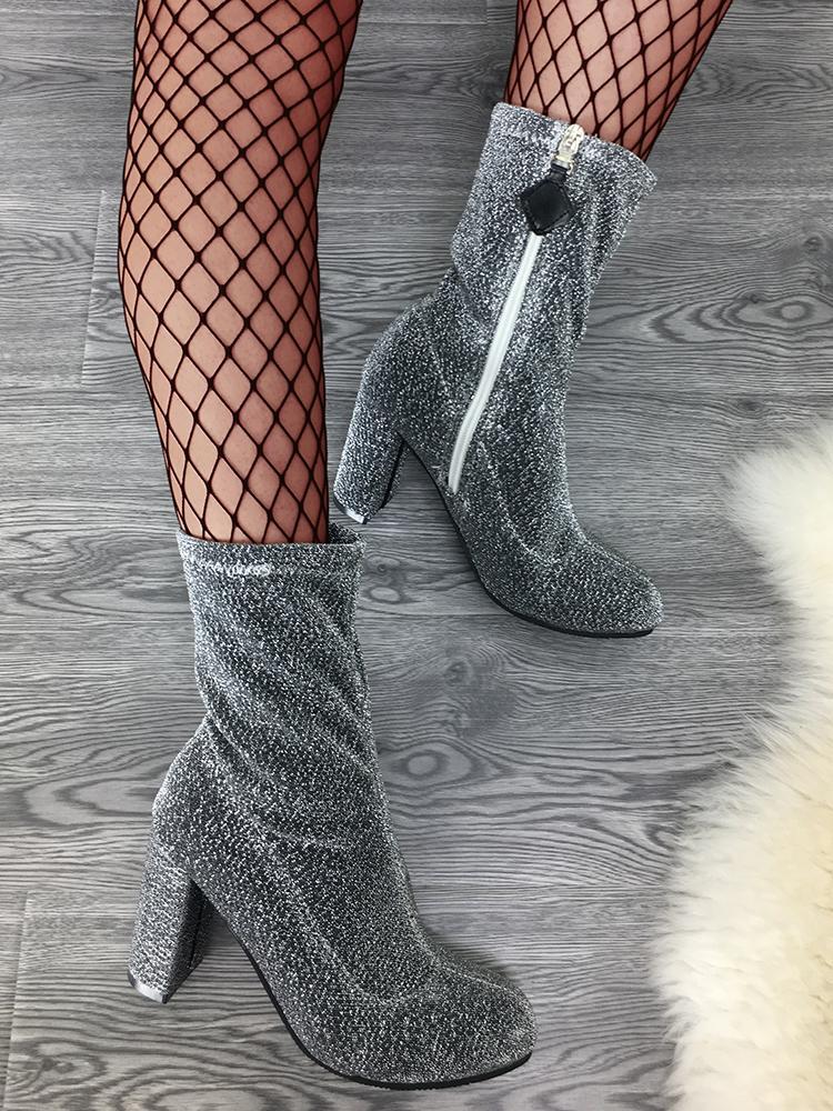 Almond Toe Side Zipper Block Heeled Boots - Silver