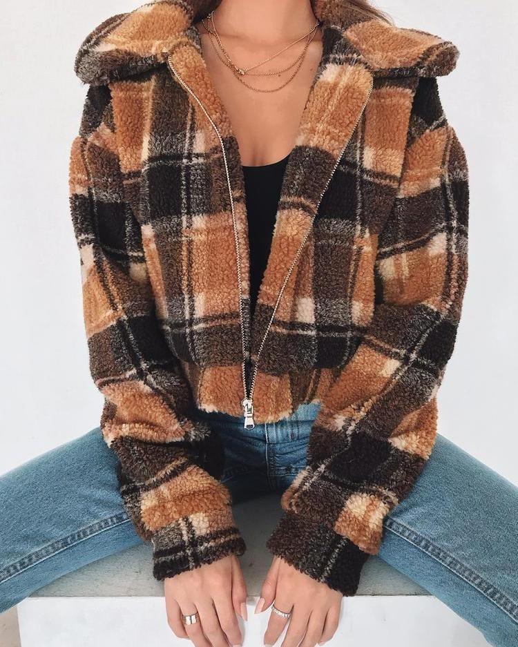 Grid Fluffy Zipper Design Jacket