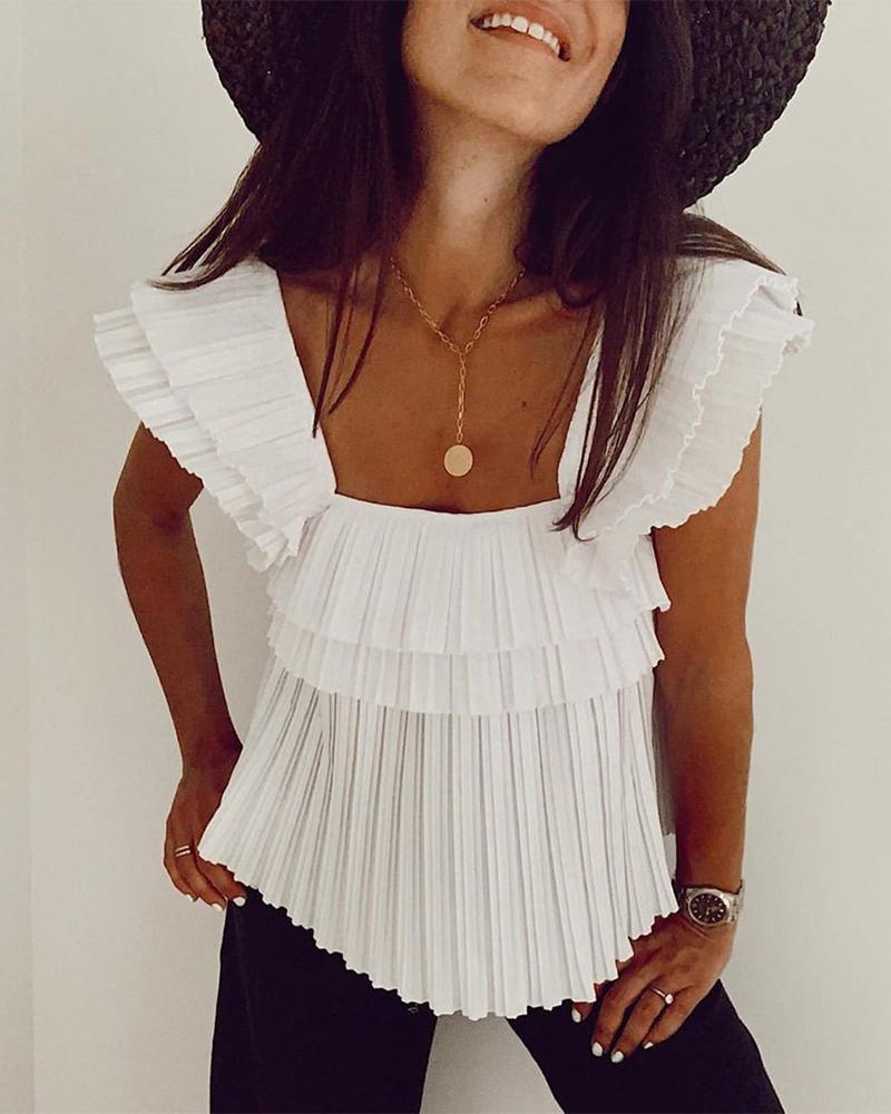boutiquefeel / Top plisado con cuello cuadrado liso