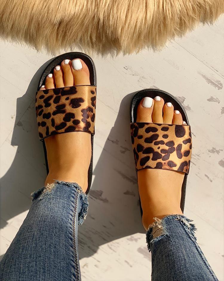 Leopard Pattern Open Toe Slippers фото