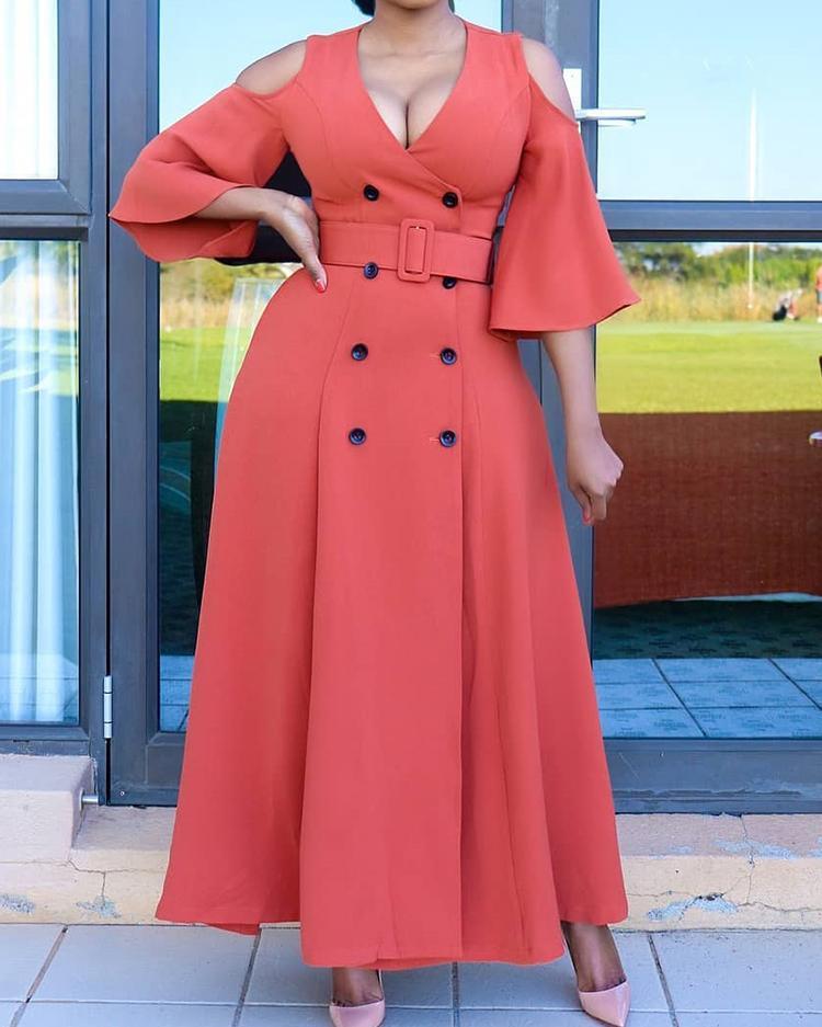 joyshoetique / Cold Shoulder Double-Breasted Belted Dress