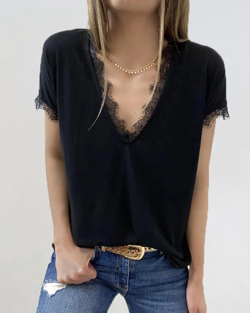 Eyelash Lace Trim V-neck Casual T-shirt фото