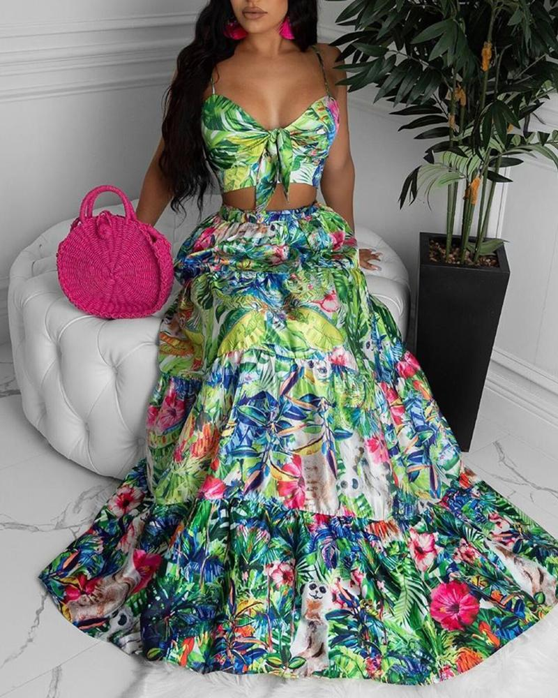 Floral Print Knot Front Design Maxi Dress фото