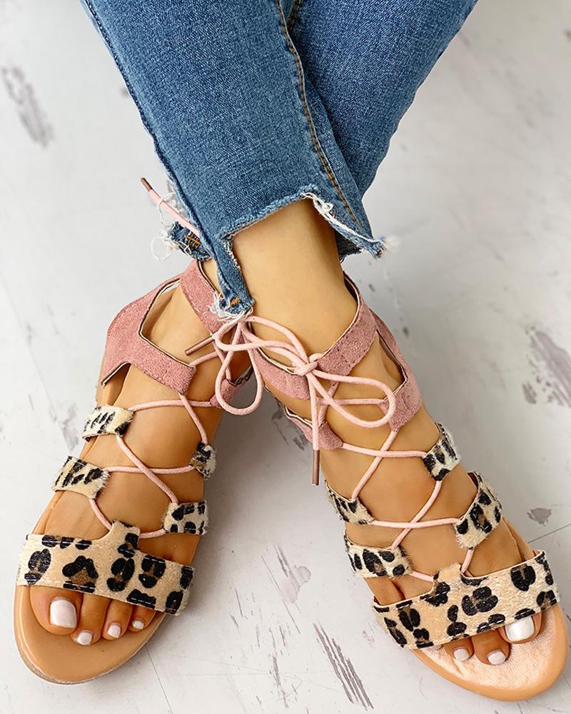 Leopard Print Lace-Up Ankle Flat Sandals фото