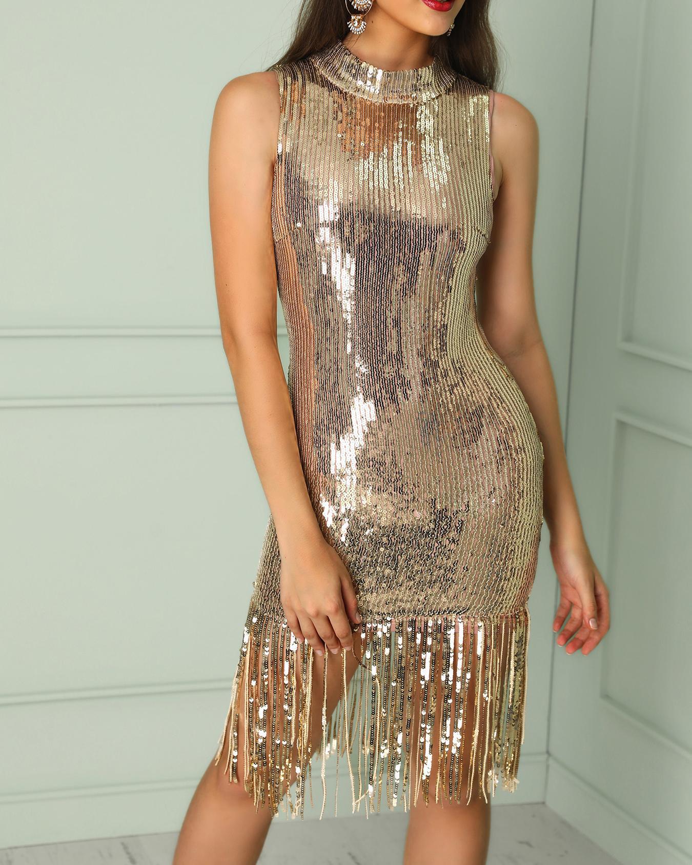 chicme / Tassel Hem Bodycon vestido de lantejoulas