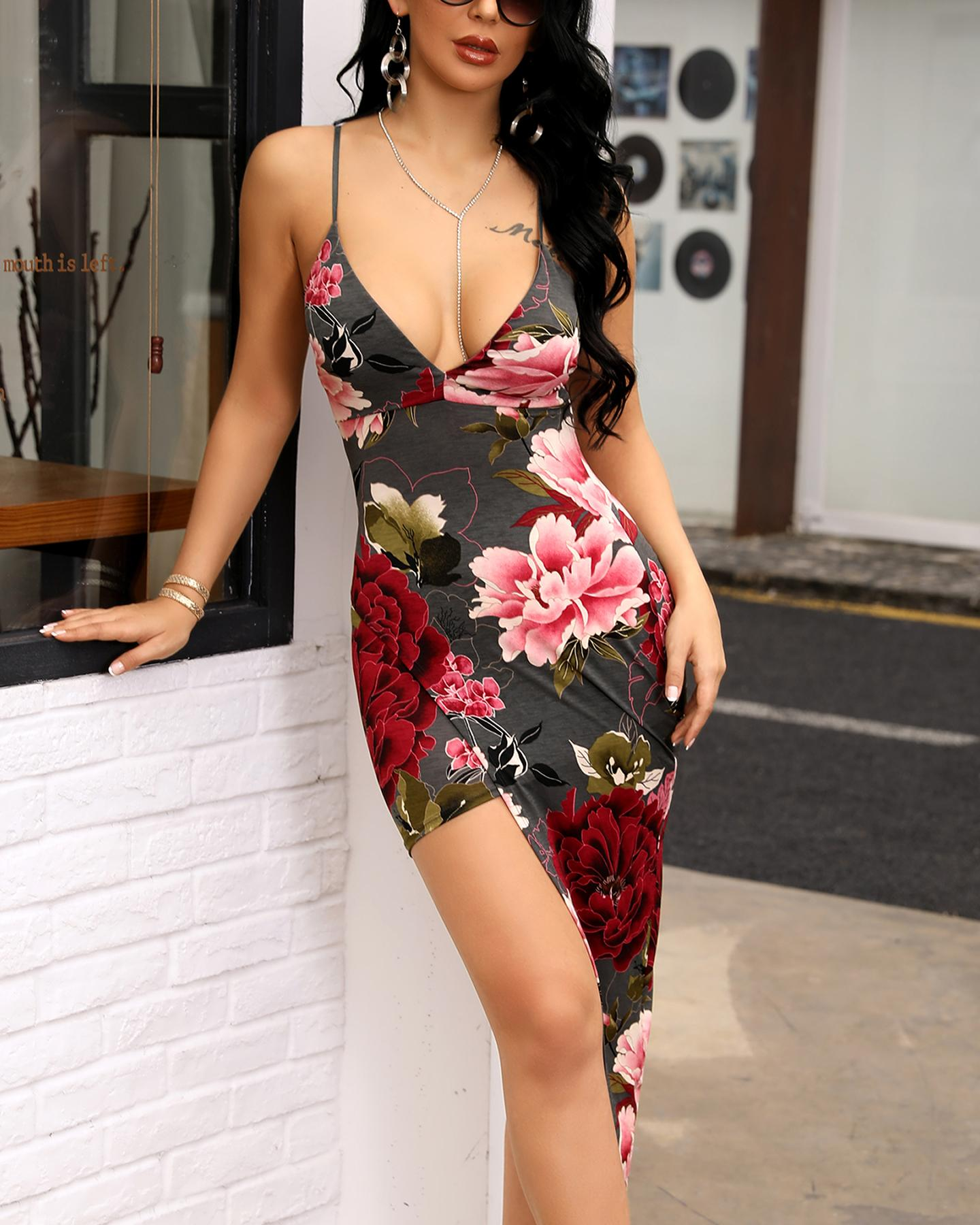 Floral Print Spaghetti Strap Bodycon Irregular Dress