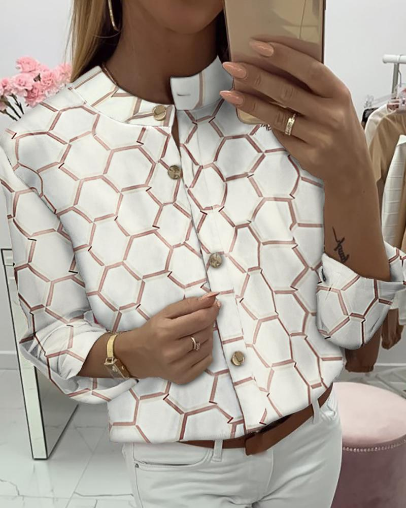 Print Long Sleeve Buttoned Casual Shirt фото