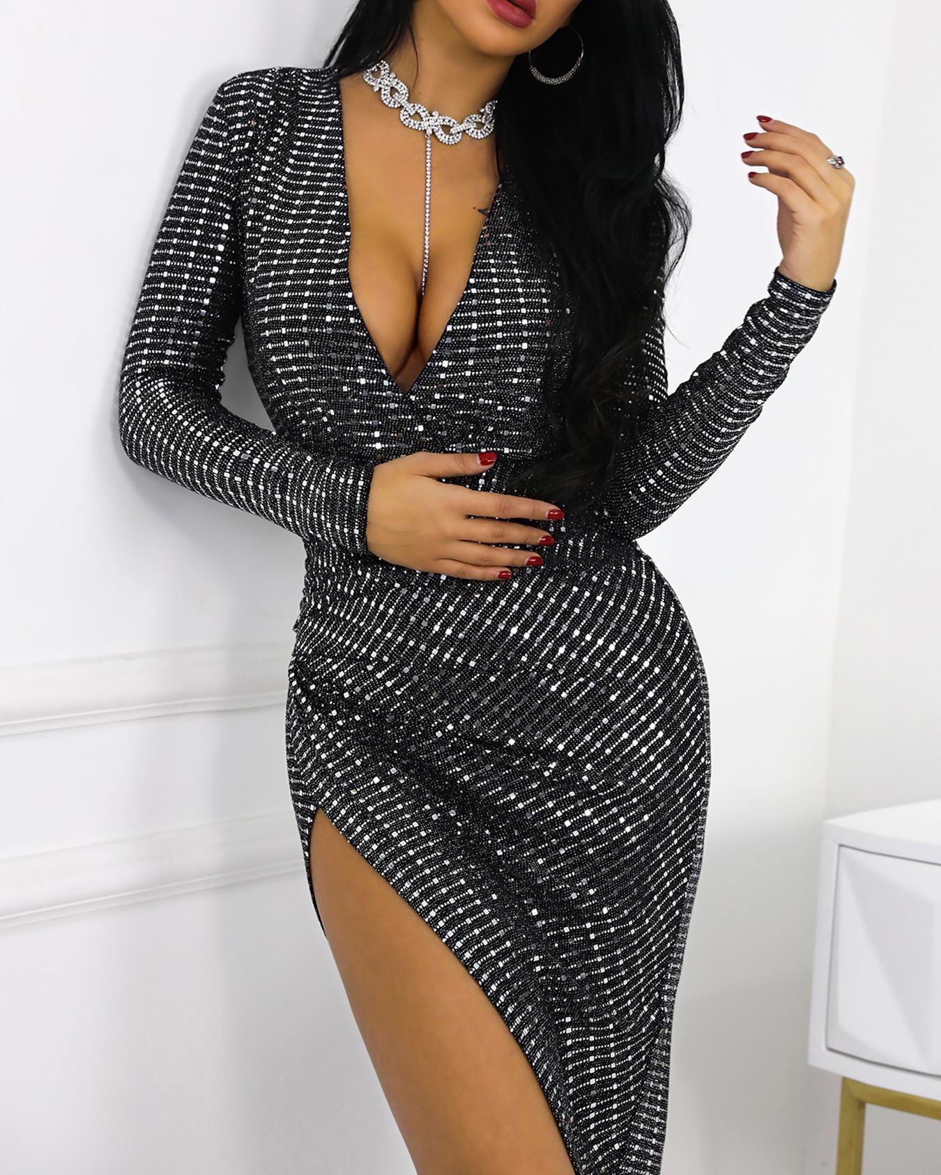 Glitter Plunge Surplice Wrap Slit Irregular Dress