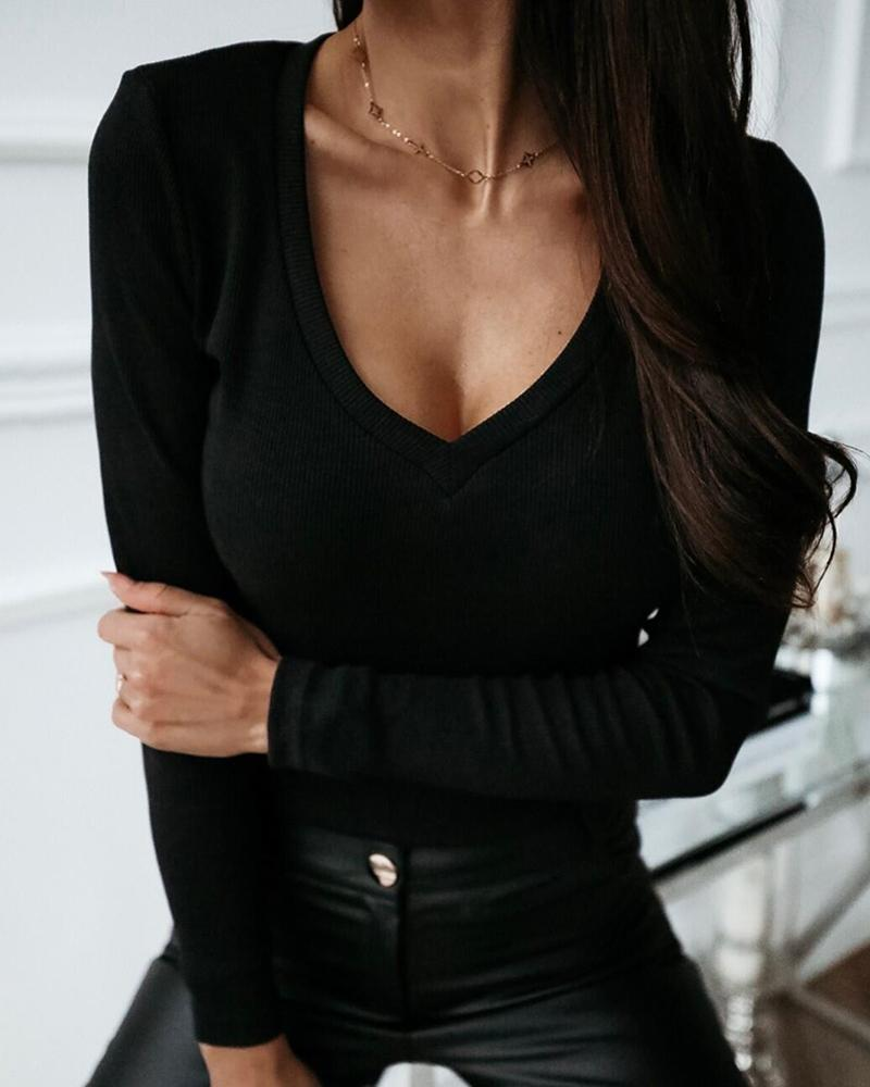 Solid V-Neck Long Sleeve Casual Blouse фото