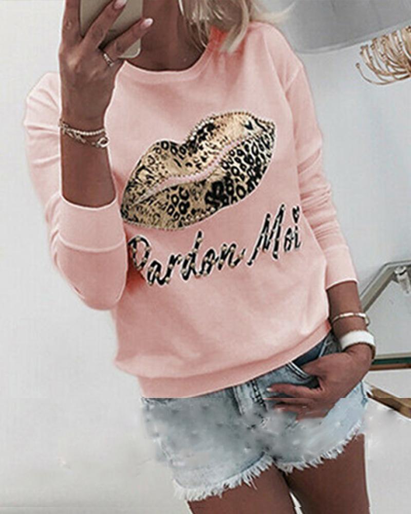 Leopard Lip Print Long Sleeve Sweatshirt фото