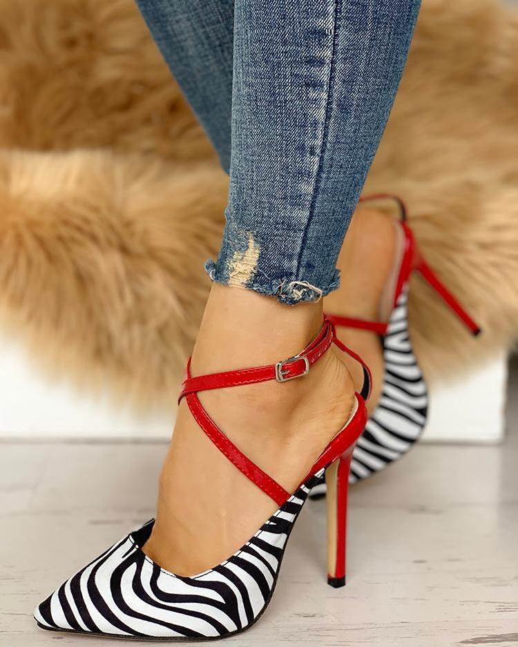 Pointed Toe Zebra Crisscross Thin Heels