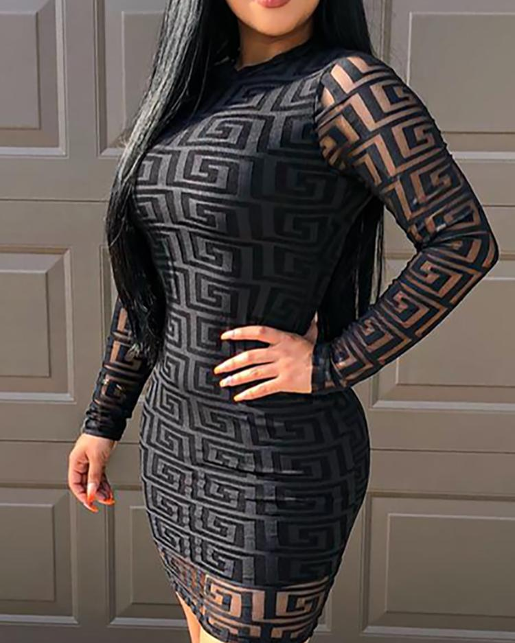 ivrose / G Inspired Print Keyhole Back Bodycon Dress