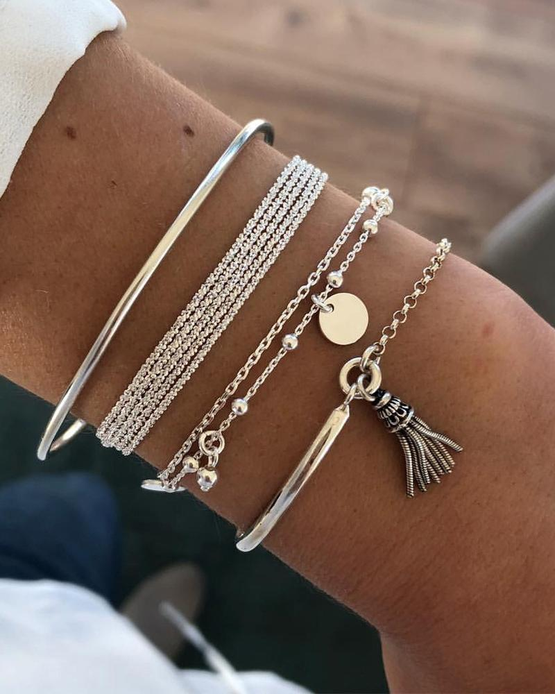 Studded Tassel Layered Bracelets фото