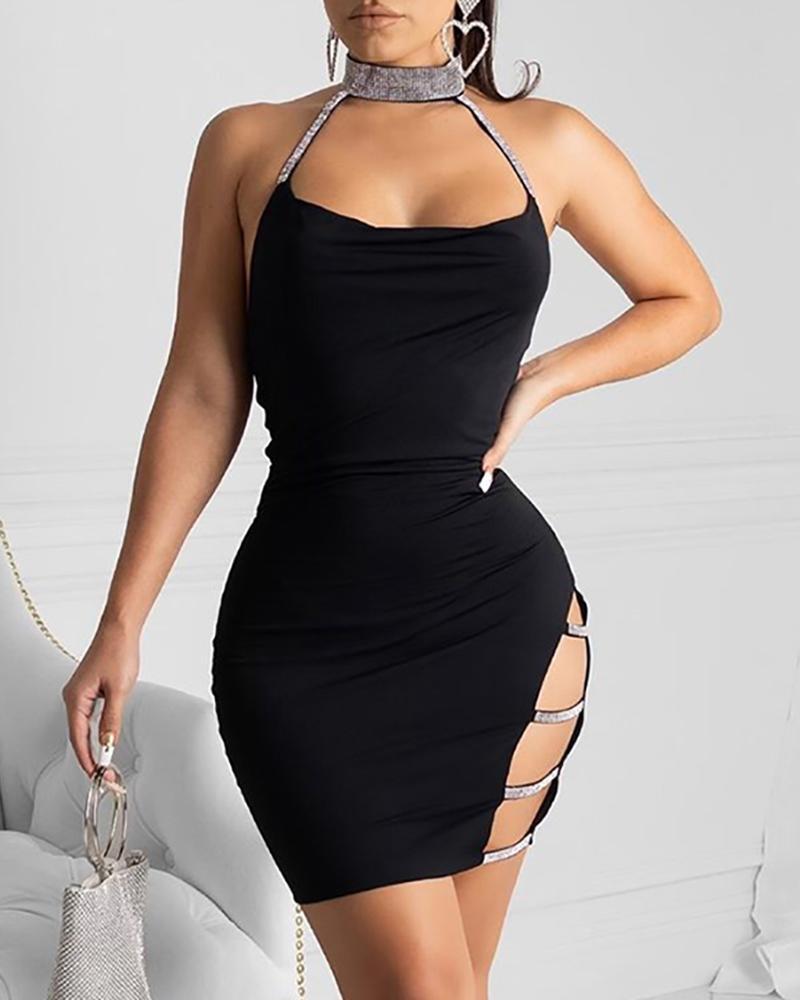 Sequins Choker Ladder Cutout Side Party Dress, Black