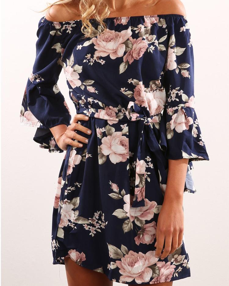 Flare Рукавом Цветочный Принт Мини-Платье
