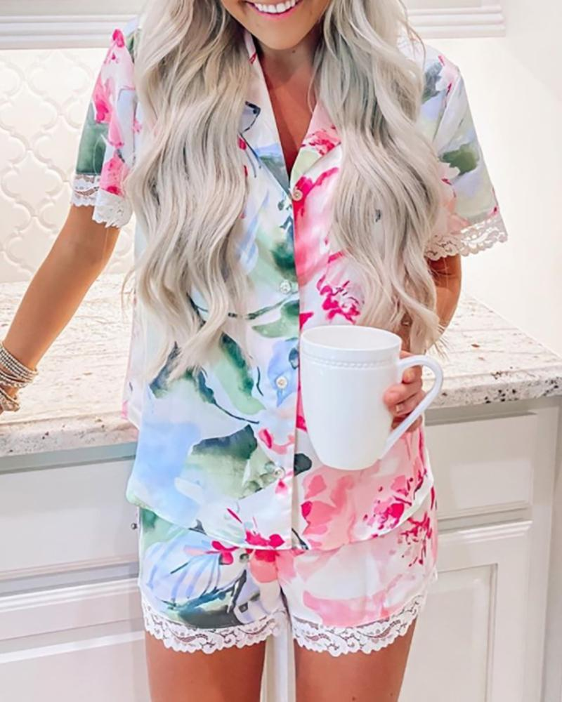 Lace Trim Tie Dye Print Pajamas Set фото