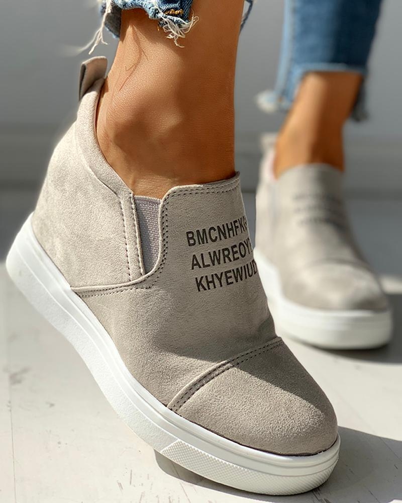 Suede Letter Pattern Casual Sneakers, Light gray