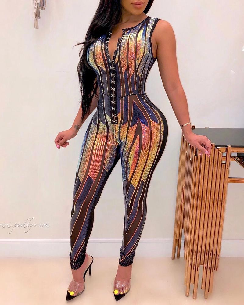 chicme / Glitter Sleeveless Sequins Jumpsuit