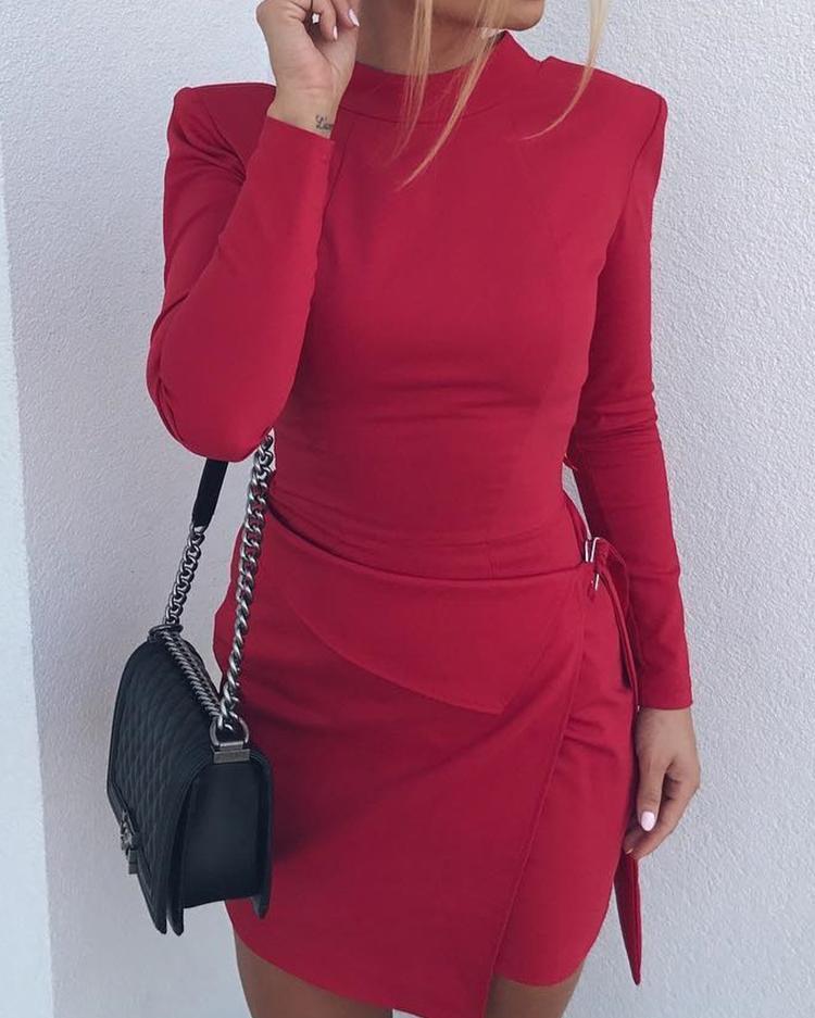 Solid Long Sleeve Bodycon Mini Dress фото