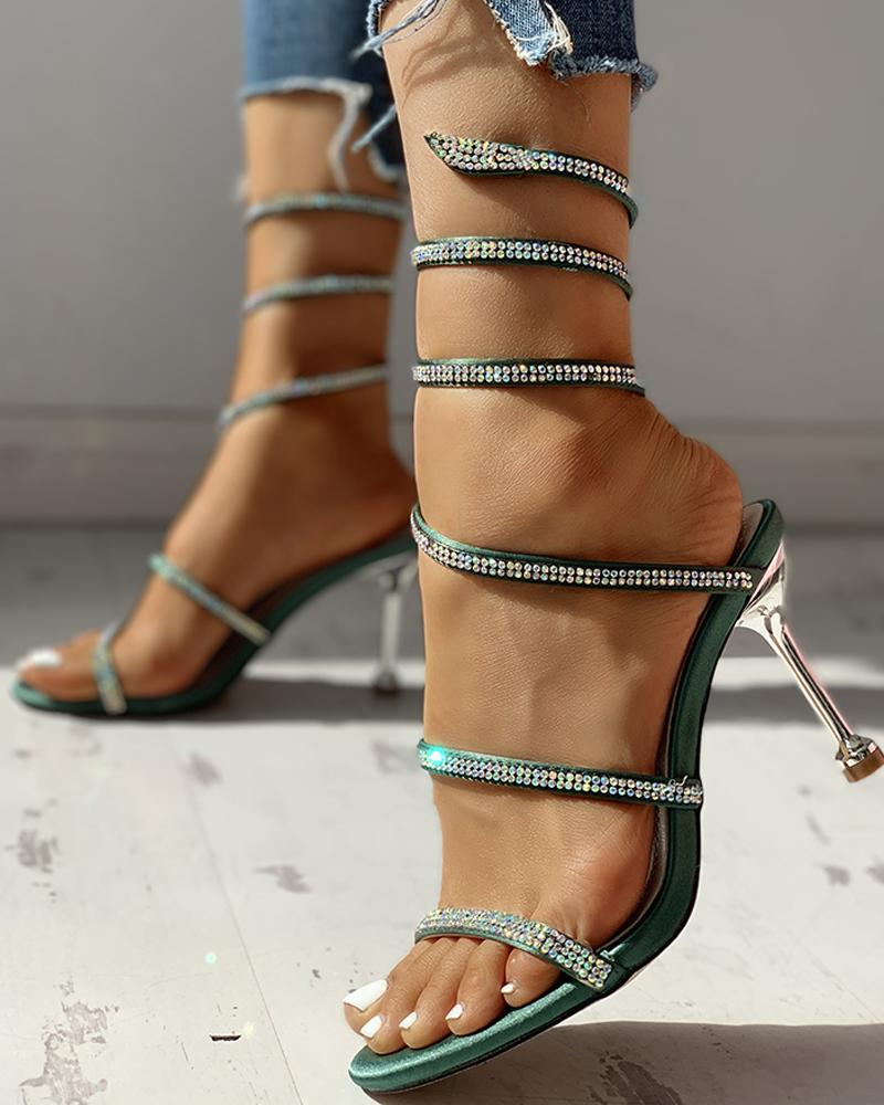 Glitter Studded Multi-strap Thin Heeled Sandals, Green