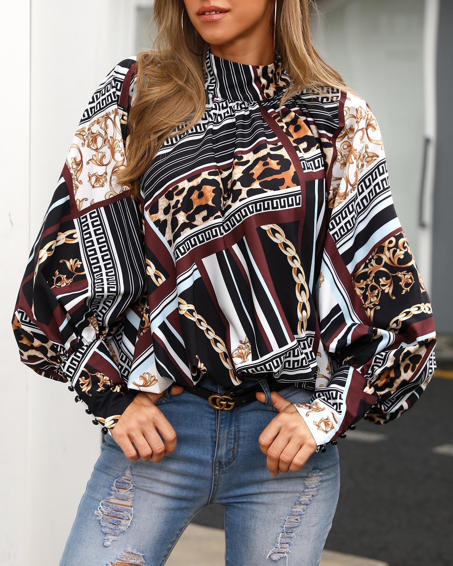 Mixed Print Buttoned Cuff Casual Blouse