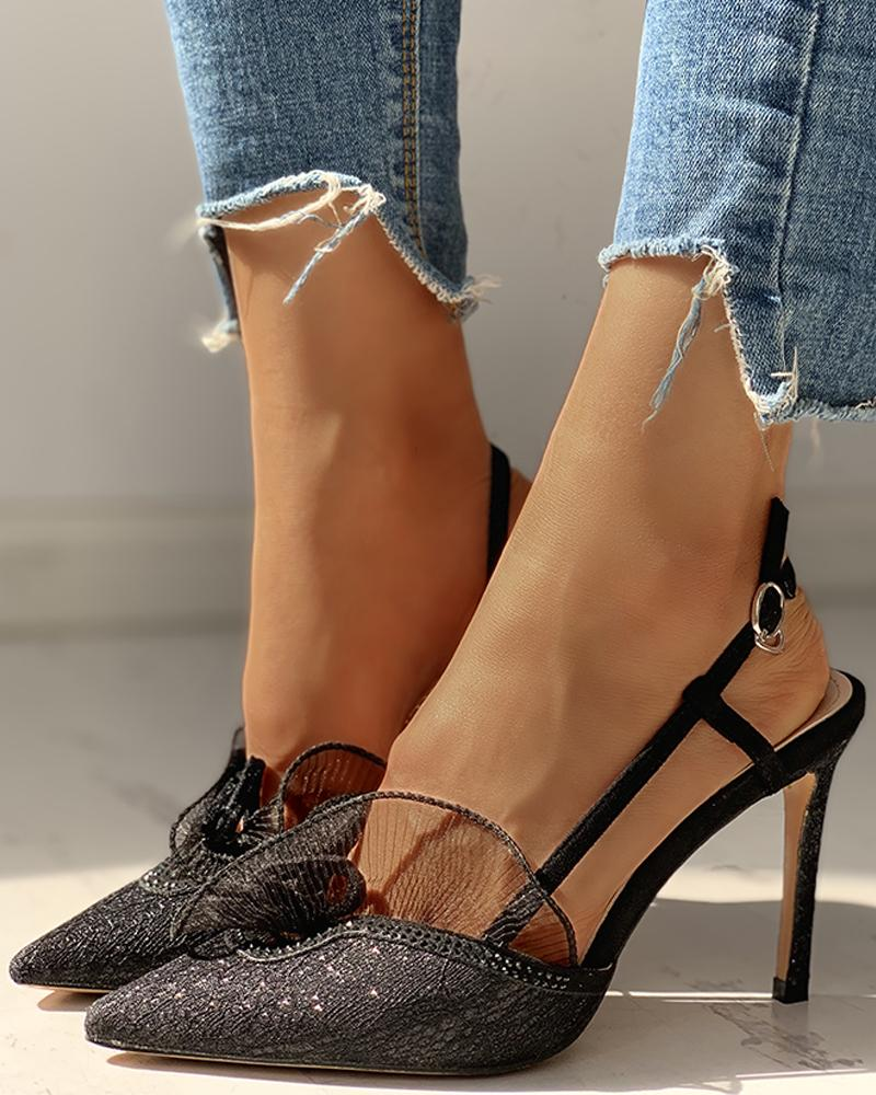boutiquefeel / Pointed Toe Lace Insert Ankle Buckled Thin Heeled Sandals