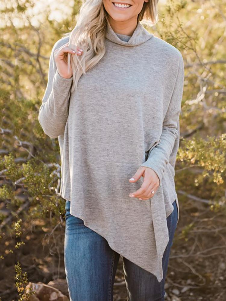 Asymmetric Pleated High Neck Casual Blouse - Gray
