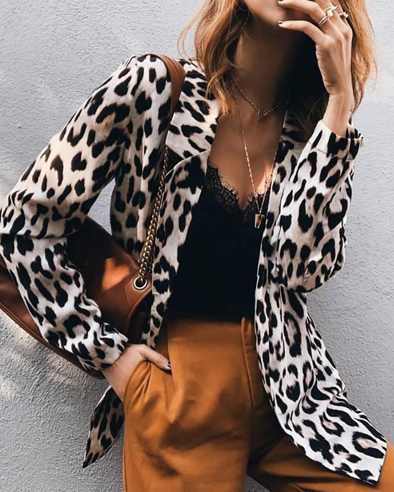 ivrose / Blazer de colarinho entalhado com estampa de leopardo abstrata