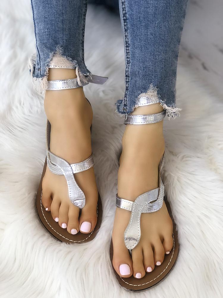 Shiny Toe Post Flat Gladiator Sandals