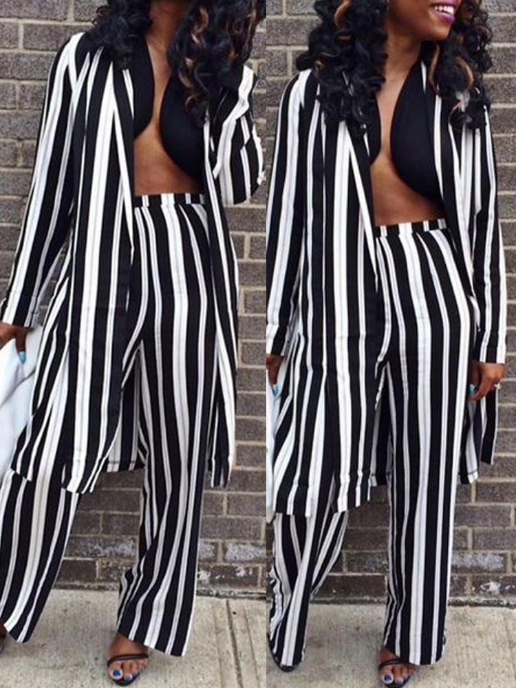 Contrast Stripes Long Sleeve Coat & Pants Sets