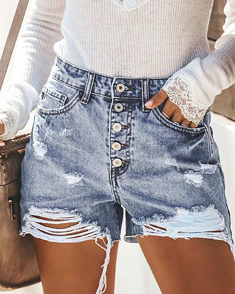 Ripped Button Design Denim Shorts, Blue