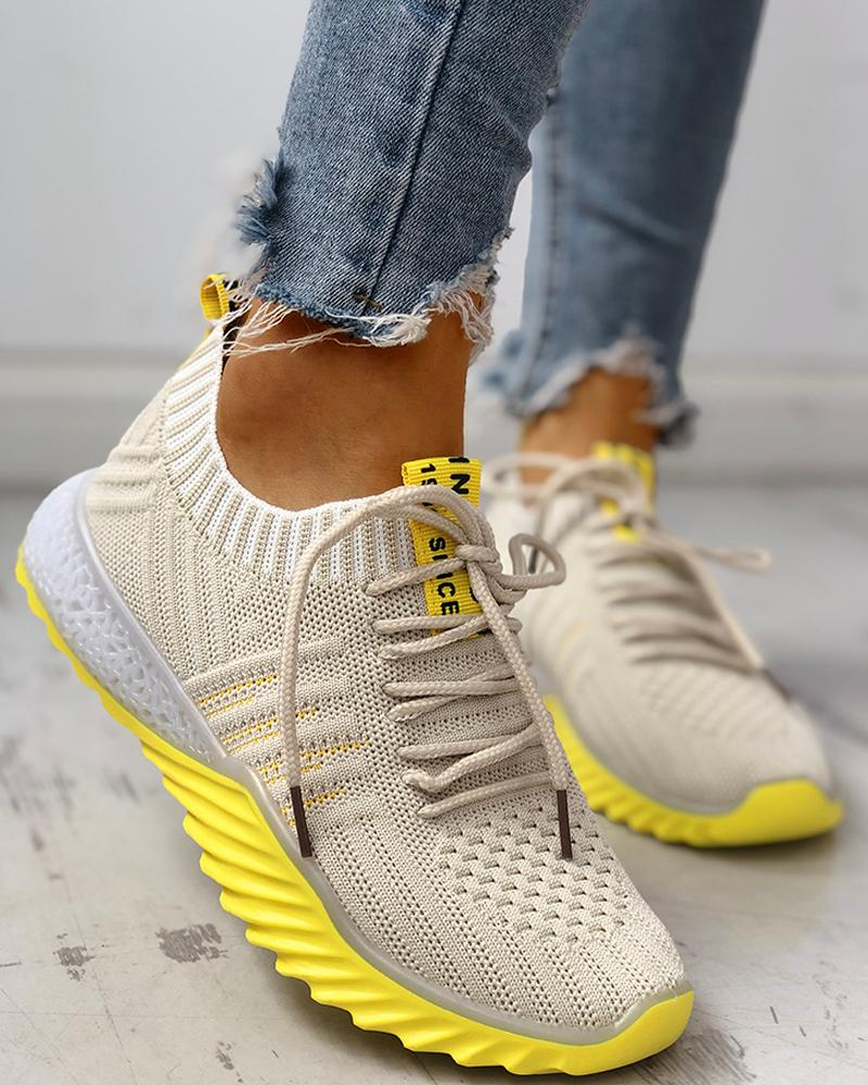 Colorblock Knitted Breathable Lace-Up Yeezy Sneakers фото