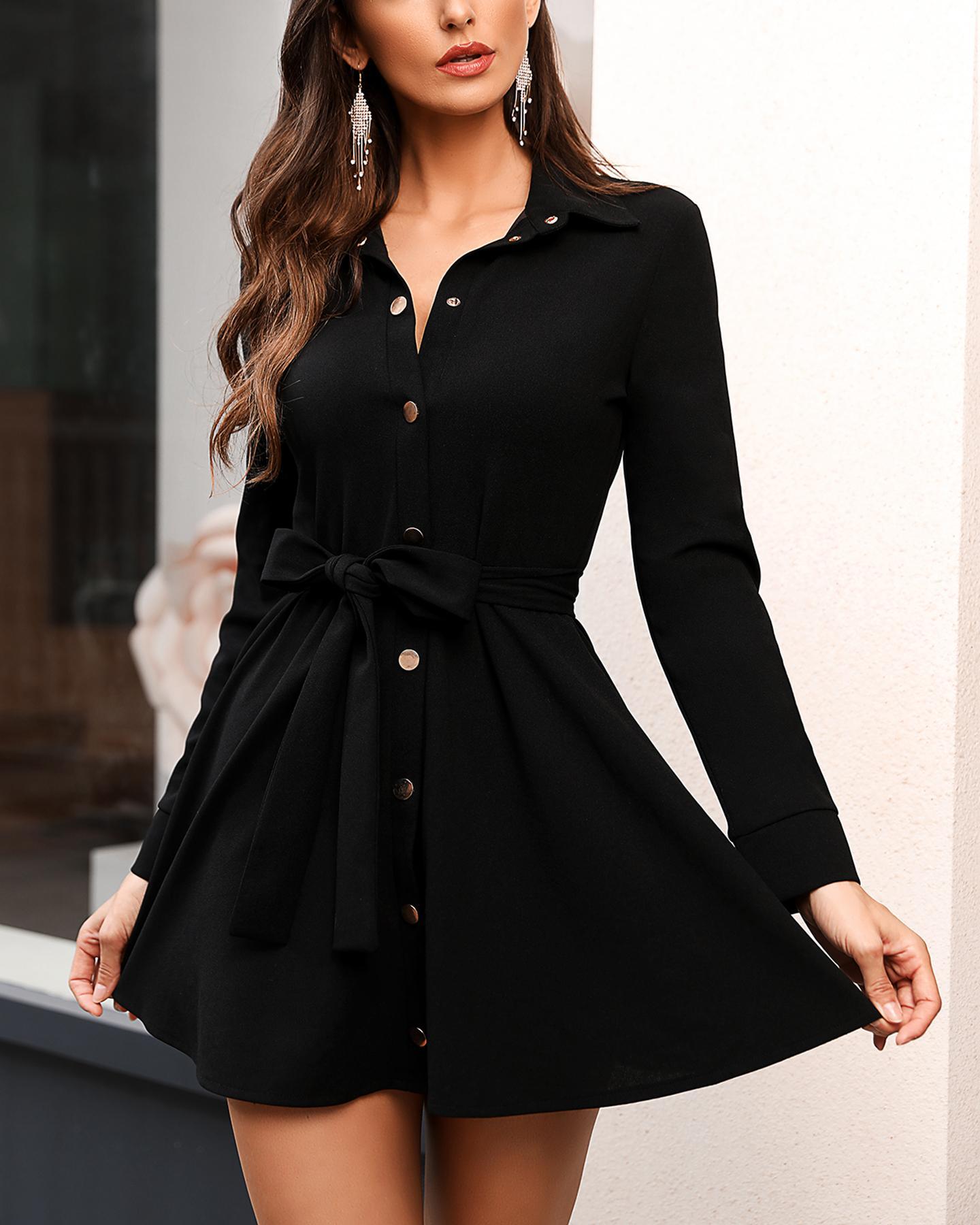 boutiquefeel / Button Up Ruffle Mini Dress