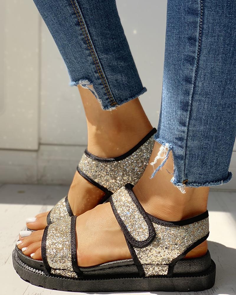 Sequins Velcro Design Open Toe Flat Sandals