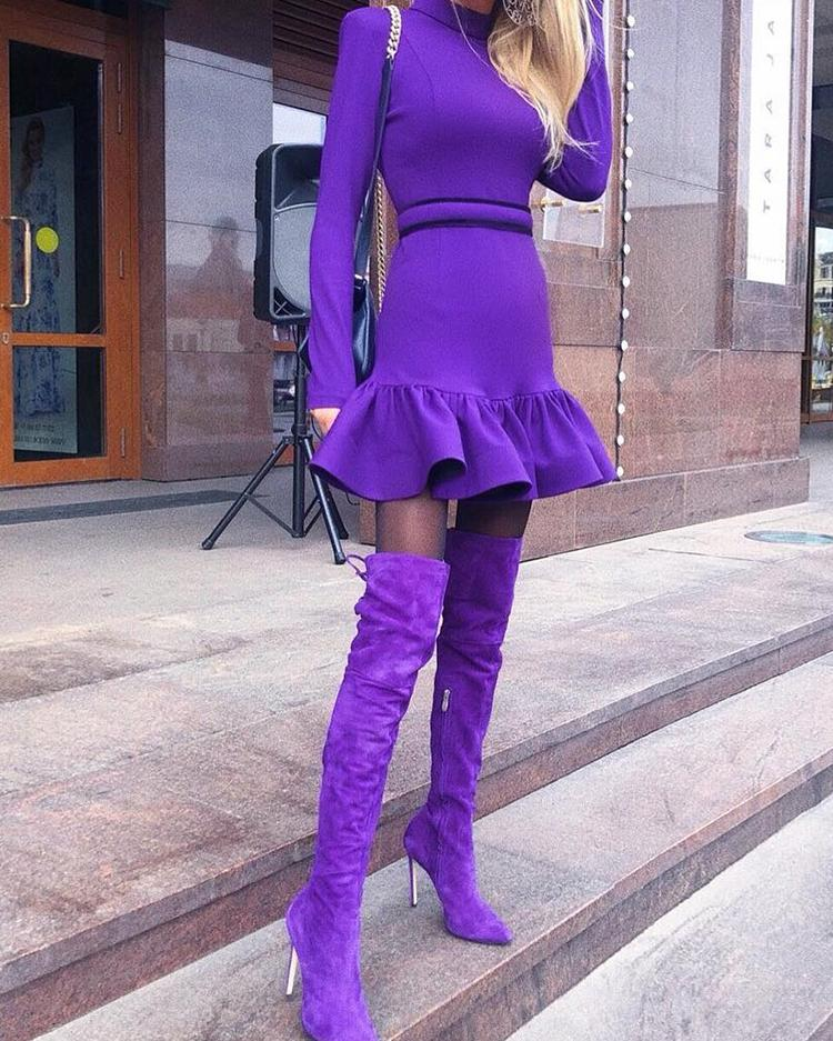 Long Sleeve Flounced Hem Bodycon Dress фото